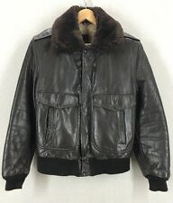 Vintage 60's Golden Fleece Brown Leather Bomber Flight Jacket Sz 40 USA