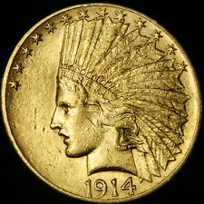 AU 1914 US $10 Indian Head Gold Eagle Coin - No Reserve