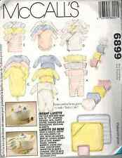 6899 UNCUT McCalls Sewing Pattern Infant Layette Romper Diaper Cover Cap OOP SEW