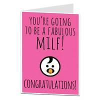 Congratulations New Baby Pregnancy Card Funny Boy Girl New Mum Fabulous MILF