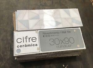 JOB LOT 40 Wall Tiles - Cifre Coloured Decorative Italian Porcelain 30x90x1cm