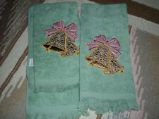 Set of 2 Green Holiday Christmas Bells Hand Towels