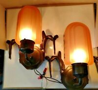 VTG Pair Art Deco 2-Leaping Ladies Flying Fems Sconces 1900-1940 w/ Pink Shades