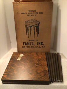 3 VTG MCM FANTA INC. N.Y. MARBLE LAMINATED STACKING NESTING SIDE TABLES BOX*NOS*