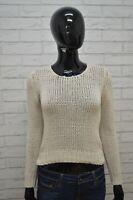 Maglione DIESEL Felpa Donna Taglia L Pullover Sweater Cardigan Cotone Beige