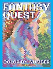 Fantasy Quest Colour By Number Activity Puzzle Adult Colouring Book Unicorn Fair