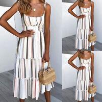 ❤️Womens Boho Striped Midi Dress Boho Ladies Strappy Summer Beach Swing Sundress