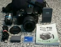 Canon EOS Rebel XT 350D 8.0MP DSLR Camera W/ 18-55mm Lens, Bag, Extras Tested FS