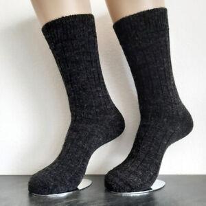 2 Pair Women's Soft Alpaca Socks Extra Soft 100% Wool Dark Grey 39 To 42