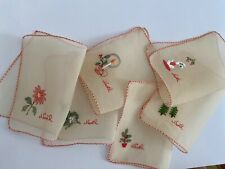 Noel Chiffon Cocktail Napkins Vintage Hand Embroidery Excellent Condition