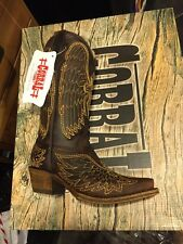 New Kids Girls Corral Vintage Boot Western Cowboy A1028 Brown/Gold Wing Sz 2.5