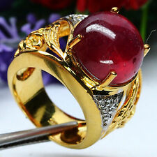 NATURAL 13 mm. RED RUBY & WHITE ZIRCON CAMBODIA RING 925 STERLING SILVER