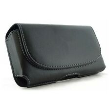 BLACK PREMIUM SIDE LEATHER PHONE CASE COVER POUCH HOLSTER BELT CLIP with LOOPS