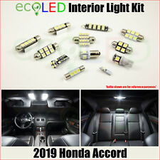 For 2019 Honda Accord WHITE Interior LED Light Accessories Replacement Kit 9 PCS