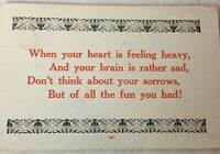 Postcard Heart Feeling Heavy Brain Sad Don't Think About Sorrows 1915 Posted