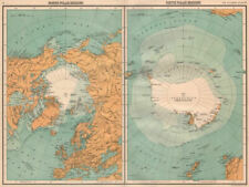 ARCTIC & ANTARCTIC.North & South Pole.Explorers positions.BARTHOLOMEW 1898 map