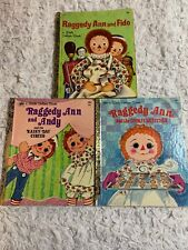RAGGEDY ANN AND ANDY 25mm GLASS Studio BUTTON Brass Filigree VINTAGE STORY BOOKS