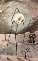 ORIGINAL Art Painting EMI BOZ Outsider lowbrow Ooak abstract surreal OMEN THIEF