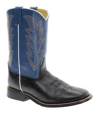 SMOKEY MOUNTAIN Cowboy Boots 6 Mens Blue Black Square Toe Leather WESTERN BOOTS