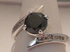 525F LADIES 14CT WHITE GOLD BLACK DIAMOND SOLITARE WITH DIAMOND ACCENTS M1/2
