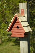 "Birdhouses - ""Clapham Manor"" Wooden Birdhouse - Redwood Finish - Garden Decor"
