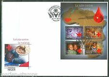 NIGER  2014  BATTLE AGAINST MALARIA RED CROSS SHEET  PERFORATED FDC