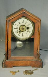 Antique 1890 Germany Cottage Shelf Clock Walnut Phillip Haas Steeple Victorian