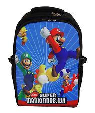 "16"" Laptop Backpack School Book Bag Super Mario Bros Wii YOSHI LUIGI TOAD Black"
