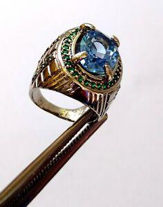 Natural Blue Aquamarine Oval Cut Gemstone Men's Ring Size 10