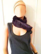 Violet Silk and Rabbit Fur Collar