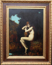 JEAN JACQUES HENNER  FRENCH PORTRAIT NUDE WOMAN OIL PAINTING ART1829-1905