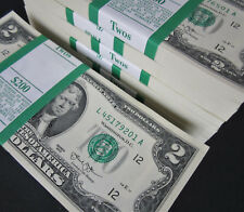 One Pack 100 Two Dollar Bills NEW $2 Paper Money BEP Bundle w/ ORIGINAL STRAP !!
