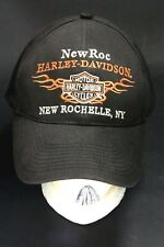 Harley Davidson Motorcycle Hat Cap New Rochelle NY Black Embroidered Adjustable