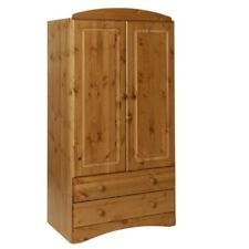 Scandi 2 Door 2 Drawer Wardrobe in Pine Antique Bedroom Furniture