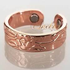 PURE COPPER MAGNETIC RING WOMEN SIZE 6-8 FLOWERS & VINES ARTHRITIS CMR01