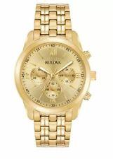 Bulova Men's Quartz Chronograph Gold Tone Bracelet 40mm Watch 97A218