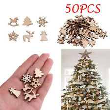 50Pcs Natural Wood Christmas Ornament Xmas Tree Reindeer Snowflakes Decoration
