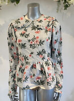 Influence Blouse Top Size 8 & 12 Sage Green Floral Cotton Peter Pan Collar GO43
