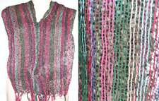 Handloom acrylic Scarf Oblong Striped Wrap Dupatta Fabric pink multicolor