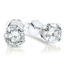 VS 1/4 cttw Round Real Diamond Ideal Cut Studs 14k White Gold Lab Grown