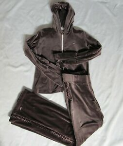 Vintage Nike Set Hoodie Pants Brown Velour Sweatsuit Womens Medium Large