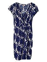 Designer Leona Edmiston Dress Blue Floral print size 8 bodycon, stretch fabric