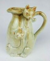 "Stoneware Art Pottery Cat Vase / Pitcher - 6 1/2"" Tall - 2 Cats - Lt Blue & Gold"
