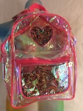 NWT Limited Too CLEAR Transparent OPALESCENT Backpack PINK GLITTER Heart School