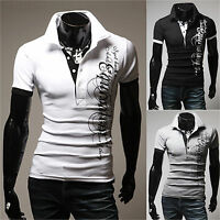 Fashion Men Slim Fit Collared Shirts Short Sleeve Casual Plain T-shirt Tees Tops