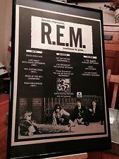 """BIG 11X17 FRAMED ORIGINAL & RARE R.E.M. REM """"RECKONING"""" LP ALBUM CD PROMO AD"""