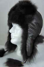 100% Sheepskin Leather & Fur Toscana Trapper Ushanka Aviator Winter Unisex Hat
