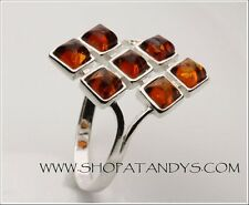 STUNNING Genuine Baltic Amber 925 Sterling Silver Ring Size 5