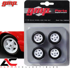 GMP 18852 1:18 SET OF 4 FORD MUSTANG PONY WHEELS & TIRES/WHITE RIMS