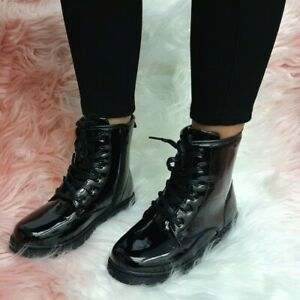 Ladies Lace Up Combat Womens Zip work Festival Punk Goth Ankle Boots Shoe Size